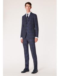 Paul Smith - Tailored-fit Navy Check Slub Wool And Silk-blend Three-piece Suit - Lyst