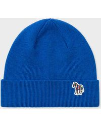 Paul Smith - Blue 'Zebra' Logo Ribbed Lambswool Beanie Hat - Lyst
