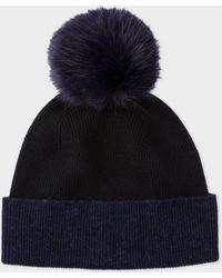 Paul Smith - Navy And Black Pom-Pom Wool Hat - Lyst