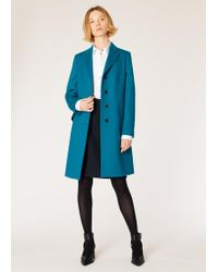 Paul Smith - Dark Turquoise Wool-Cashmere Epsom Coat - Lyst