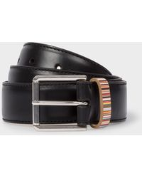 Paul Smith - Black Leather Belt With 'signature Stripe' Keeper - Lyst