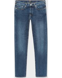 Paul Smith - Tapered-Fit 13oz 'Exclusive And Pink Selvedge' Mid Wash Denim Jeans - Lyst