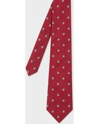 Paul Smith - Red Embroidered Football Motif Silk Tie - Lyst