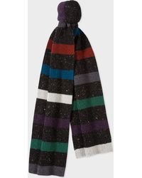 Paul Smith - Black Donegal Stripe Wool Scarf - Lyst