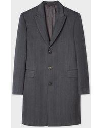 Paul Smith - Dark Grey Herringbone Wool Peak Lapel Epsom Coat - Lyst