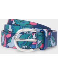 Paul Smith - Blue Floral Print Leather Belt - Lyst