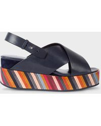Paul Smith - Dark Navy 'Noe' Leather Sandals With Graphic Print Soles - Lyst