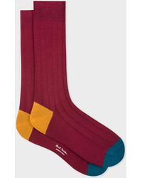 Paul Smith - Burgundy Cotton-Blend Socks With Contrasting Details - Lyst