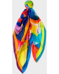 Paul Smith - Abstract 'Paint Brush Pot' Painted Print Silk Scarf - Lyst