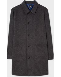 Paul Smith - Red Ear Charcoal Cotton Mac With Flecked Details - Lyst