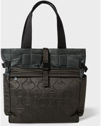 Paul Smith Dark Grey Quilted Nylon Tote Bag