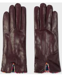 Paul Smith - Burgundy Leather Gloves With 'Swirl' Piping - Lyst