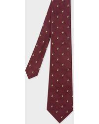 Paul Smith - Burgundy Embroidered Rabbit Motif Silk Tie - Lyst