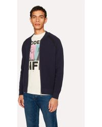 Paul Smith - Navy Cotton Zip-Front Cardigan - Lyst