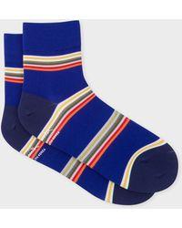 Paul Smith - Indigo Block-Stripe Cycling Socks - Lyst