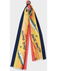 Paul Smith - Yellow 'Mackerel' Print Tubular Silk-Blend Scarf - Lyst