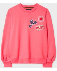 Paul Smith - Pink Sun And Floral Embroidered Cotton Sweatshirt - Lyst