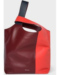 Paul Smith - Red Colour Block Leather Tote Bag - Lyst
