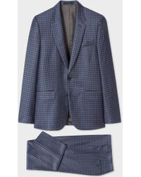 Paul Smith - The Soho - Tailored-Fit Blue Three-Colour Plaid Wool Suit - Lyst