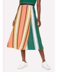 Paul Smith - Pink 'Pacific Floral' Print Wrap Front Skirt - Lyst