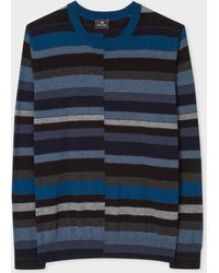 Paul Smith - Navy Wool Sweater With Multi-Coloured Stripes - Lyst