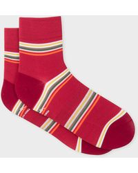Paul Smith - Red Block-Stripe Cycling Socks - Lyst