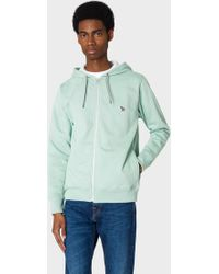 Paul Smith - Mint Green Organic-cotton Zip-front Zebra Logo Hoodie - Lyst
