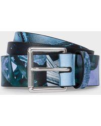 Paul Smith - Blue 'paul's Photo' Print Leather Belt - Lyst