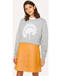 Paul Smith - Grey Embroidered Flower Cotton-Blend Sweatshirt - Lyst
