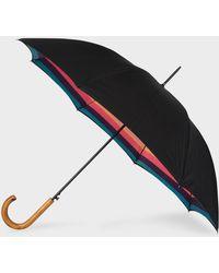 Paul Smith Parapluie Droit Noir Canopée 'Artist Stripe' Et Pommeau En Bois