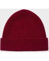 Paul Smith - Burgundy Cashmere-blend Beanie Hat - Lyst f6762876e78