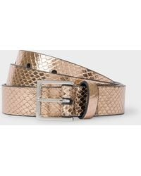 Paul Smith - Gold Metallic Snake-Effect Leather Belt - Lyst