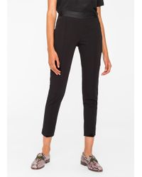 Paul Smith - Women's Slim-fit Black Stretch-cotton Trousers With Waist Zip - Lyst