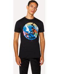 Paul Smith - Slim-Fit Black 'Marble Circle' Organic-Cotton T-Shirt - Lyst