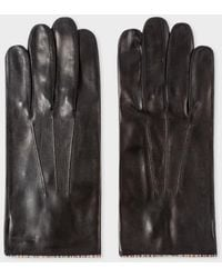 Paul Smith - Men's Black Leather Signature Stripe Trim Gloves - Lyst