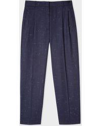 Paul Smith - Navy Flecked Slub Double-Pleat Wool-Blend Trousers - Lyst