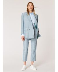 Paul Smith - Relaxed-fit Pastel Blue Double Breasted Linen-blend Suit - Lyst