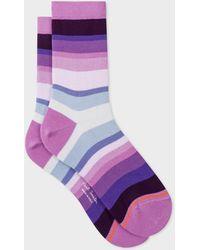 Paul Smith - Purple Tonal-Stripe Socks - Lyst