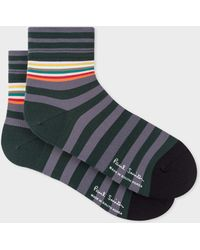 Paul Smith - Grey And Green Block-Stripe Cycling Socks - Lyst