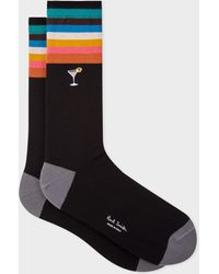 Paul Smith - Black 'Artist Stripe' Cuff Socks With Embroidered Motif - Lyst