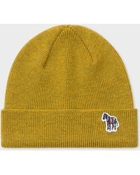 7665fe450ce Paul Smith - Mustard  Zebra  Logo Ribbed Lambswool Beanie Hat - Lyst