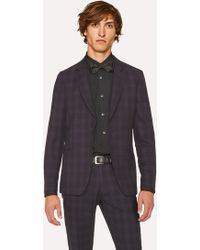 Paul Smith - Tailored-Fit Purple And Black Jacquard Check Blazer - Lyst