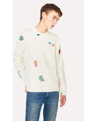 Paul Smith - Ecru Wool-Blend Ribbed Jumper With Darning Detail - Lyst