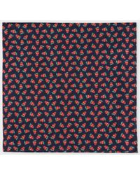 Paul Smith - Men's Dark Navy 'strawberry Skull' Print Silk Pocket Square - Lyst
