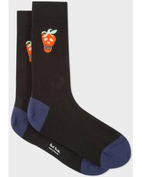 Paul Smith - Men's Black Strawberry Skull Ribbed Socks - Lyst