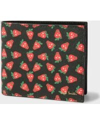 Paul Smith - Men's Black Leather 'strawberry Skull' Print Billfold Wallet - Lyst