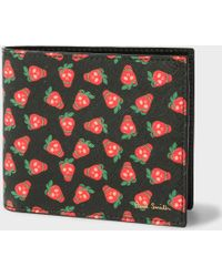 Paul Smith - Men's Black Leather 'strawberry Skull' Print Billfold Wallet - Lyst