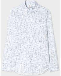 Paul Smith - Men's Tailored-fit Sky Blue 'cactus' Print Cotton Shirt - Lyst
