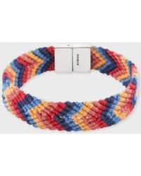 Paul Smith - Multi-coloured Chevron Stripe Silk Bracelet - Lyst
