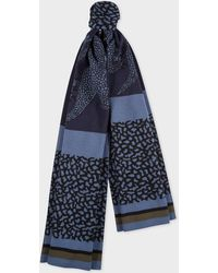 Paul Smith - Navy And Slate Blue 'Dino' Wool Scarf - Lyst